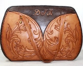 Vintage Retro brown tan hand tooled leather purse hand bag tote flower box shape large DJA Initials