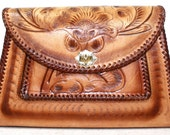sale Vintage Retro brown tan hand tooled leather purse hand bag tote flower box shape large woven