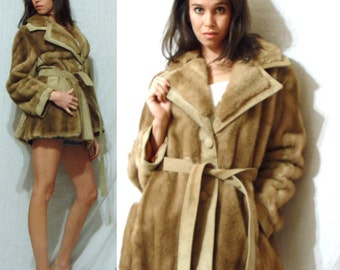 Vintage LILLI ANN womens coat jacket tan brown Faux fur Leather England S M 60's