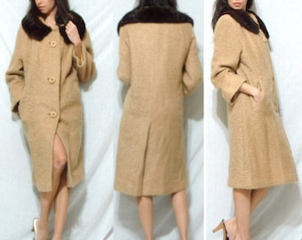 Vintage MINK fur collar Brown tan camel Dress Coat swing MOD Youthcraft Blass Womens M L XL 60s