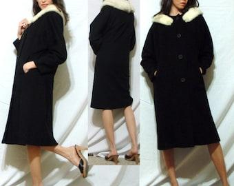 Vintage MINK fur collar black white Dress Coat swing MOD Womens S M 50s