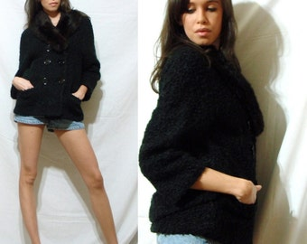 Vintage black dress coat curly persian lamb wool womens collar Rabbit fur jacket S M