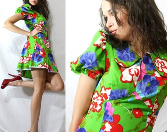 Vintage dress flower play short puffy sleeve grean peter pan collar XS S 80's