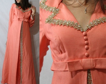 Vintage dress bow pearl peach long sleeve COCKTAIL womens S small M Medium 50's 60's