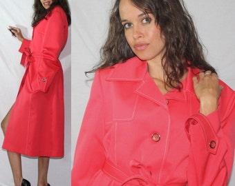 Vintage bright pink dress light coat jacket swing mod Womens S M 70s