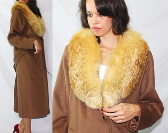 Vintage FOX yellow fur collar Andover brown Dress Coat swing MOD Womens M L 70s 80's