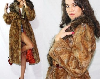 Vintage womens red coat hook eye jacket multi color brown full long genuine fox Mink fur S M 50's 60's