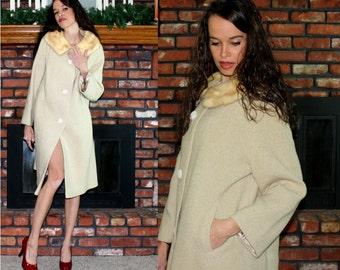 Vintage MINK fur collar tan blond off white Dress Coat swing mod Womens M L 60s 70s