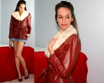 Vintage Rabbit fur collar dress coat red white leather women swing MOD 80s XS S