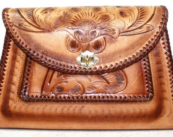 Vintage Retro brown tan hand tooled leather purse hand bag tote flower box shape large woven