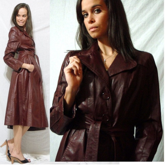 SALE Vintage red burgundy MAROON dress coat LEATHER long XS S Small 70's