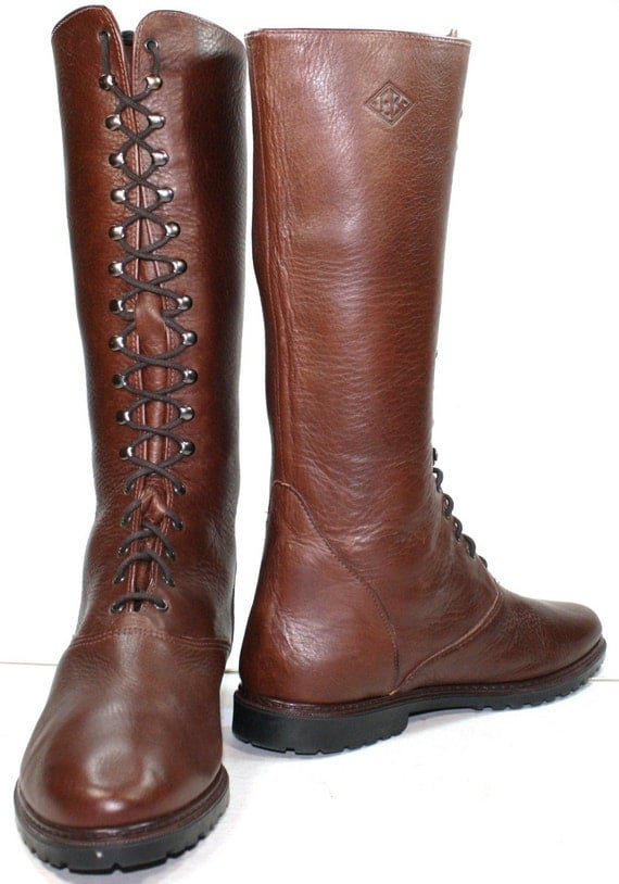 Vintage GRANNY brown EDDIE BAUER womens LACE UP tall RIDING