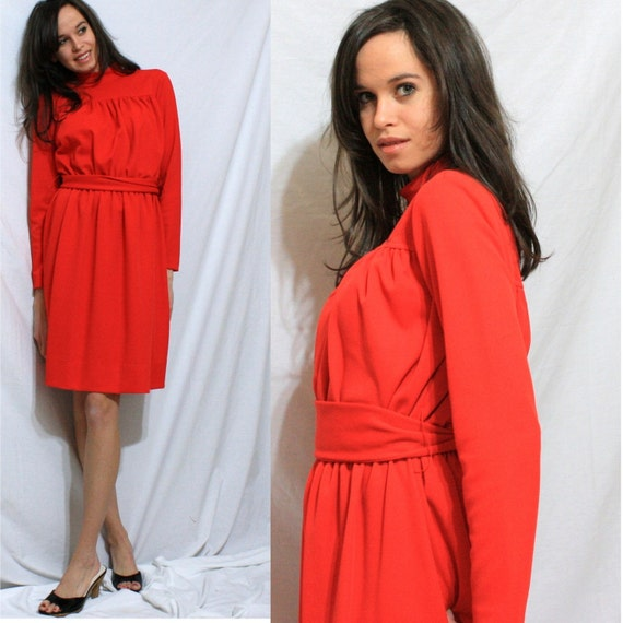 VTG red dress PLEATED polyester UNION MADE womens S M 60s 70s