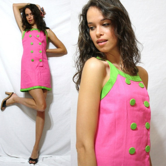 Vintage dress play short sleeve green pink double breasted cocktail XS S 60's