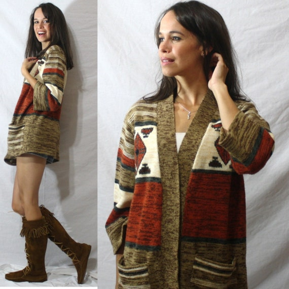 Vintage INDIAN southwestern NATIVE AMERICAN orange Sweater white brown M 70's