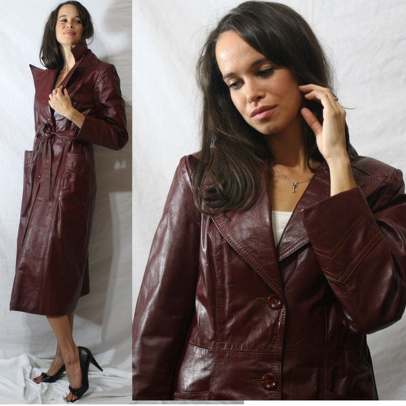 Vintage red burgundy MAROON dress coat LEATHER long S M  70's