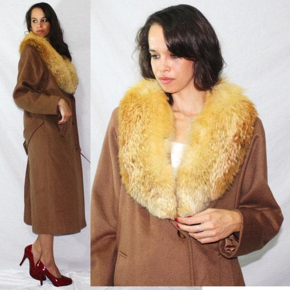 Vintage FOX yellow fur collar Andover brown Dress Coat swing MOD Womens M L 70s 80's