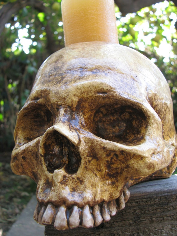Aged Human Skull Candle Holder - Natural Style A - RESERVED for blueblonde13