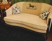 SUMMER BLOWOUT SALE Loveseat,  Horse,  Antique German grain sack, Homespun, Black Wood Frame, grainsack