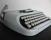 RESERVED for williamhecht. FREE US SHIPPING. Royal Royalite 64 Pale Grey Typewriter.  Royal McBee.  Super Mod and Very Cool.