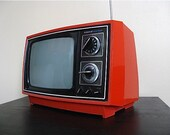 RESERVED for smonahan123.  Retro Red 1970s Television.