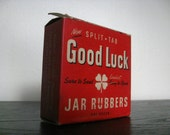 RESERVED for bylykiard.  Vintage Good Luck Split Tab Jar Rubbers.