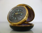 Vintage Round Black World Travel Clock.  Made by Elgin.
