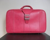 Vintage Sears Courier by Samsonite Hot Pink Suitcase.