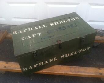 Raphael Shelton.  Vietnam War Foot Locker.  Army Green. Vintage Wooden Trunk.