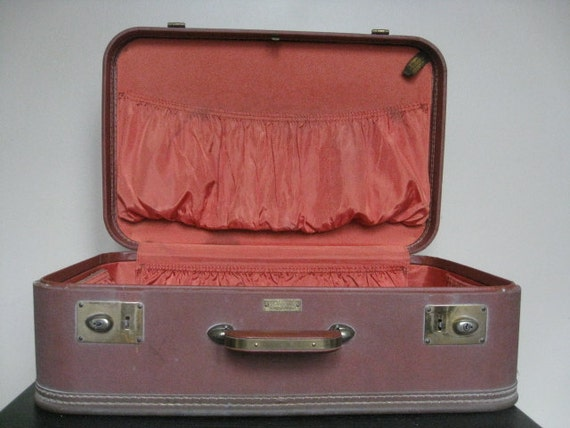 Vintage JC Higgins Medium Maroon Suitcase.