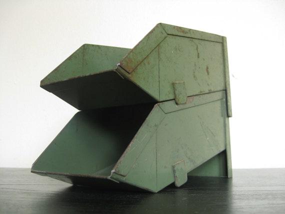 Industrial Chic.  US NAVY Green Metal Stack Bins.