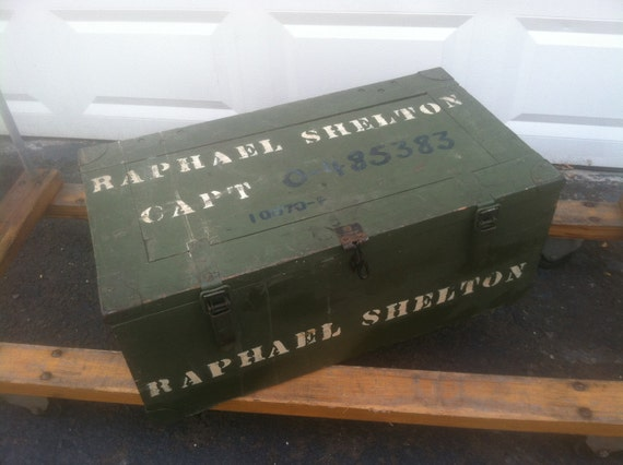 Raphael Shelton.  Vietnam War Foot Locker.  Army Green. Vintage Wooden Trunk.