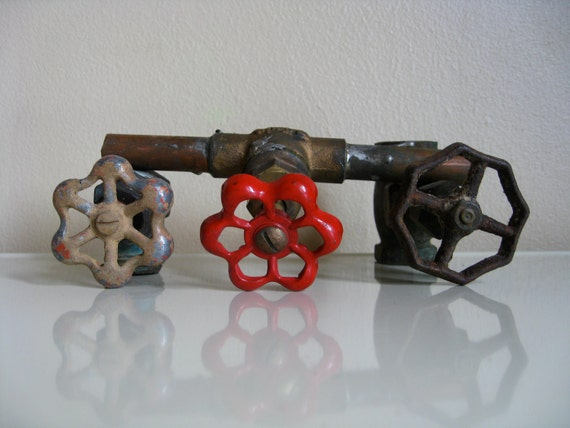 Trio of Valves.  Industrial Chic.  Vintage Plumbing For Your Next DIY Project.