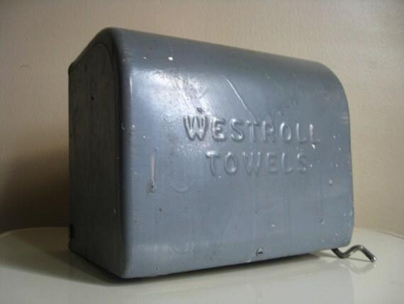 Industrial Chic.  Grey Metal Paper Towel Holder and Dispenser.  Westroll.
