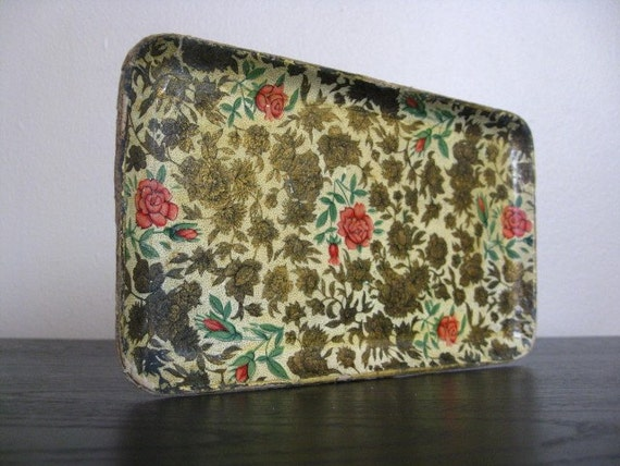 Vintage Floral Paper Tray. 3 Available.