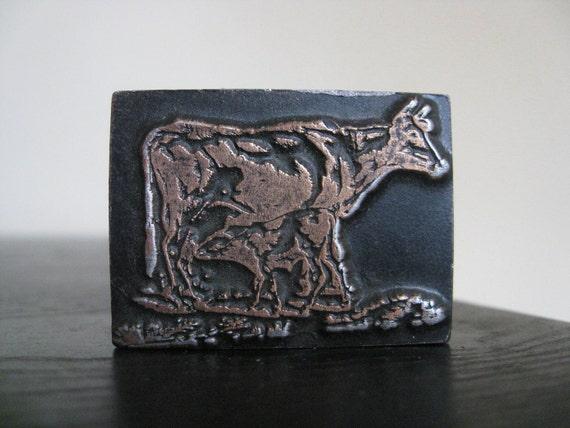 Vintage Cow Wooden Letterpress Printer's Block.