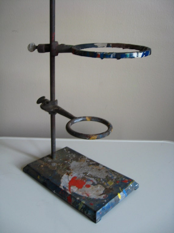 RESERVED for A.  Industrial Chic. Fisher Lab Equipment.  Metal Stand.  Fathers Day.