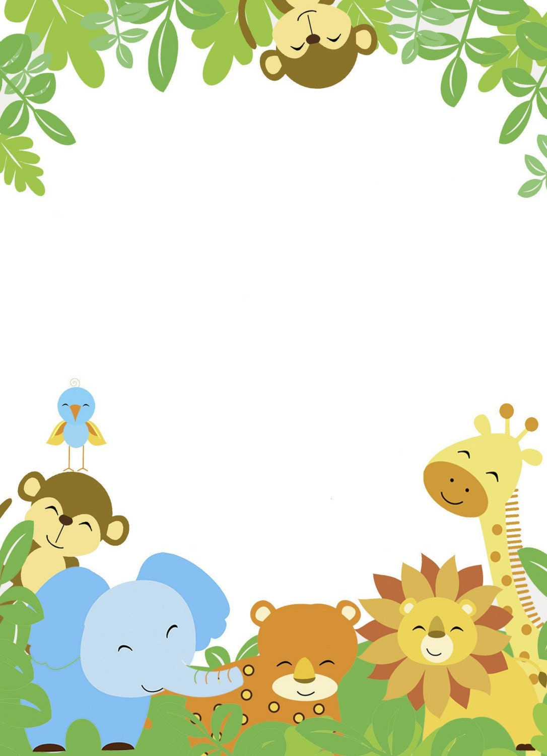 Jungle Safari Baby Shower Border Pictures to Pin on ...