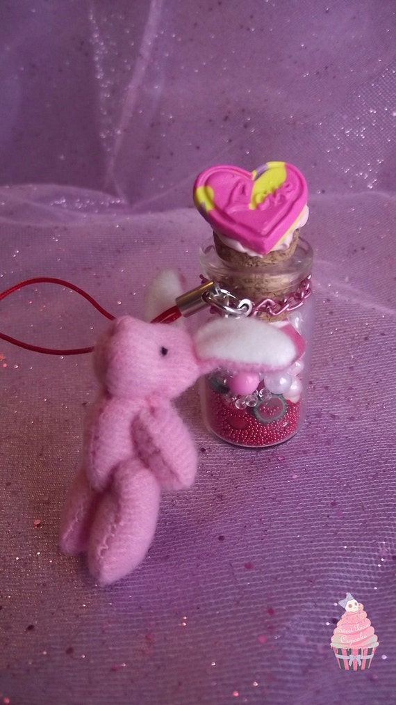 Pink Love Bunny & Bottle Cellphone Charm