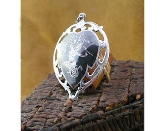 Siam Niello Mekkala Pendant - Goddess of Lightning - Openwork Silver & Niello - Vintage Siamese Nielloware Jewelry