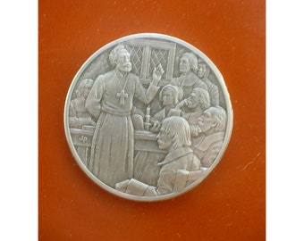 The Act Concerning Religion Medal - by The Franklin Mint - Official History of Colonial America  - Vintage Pewter Medal Seriesklin Mint