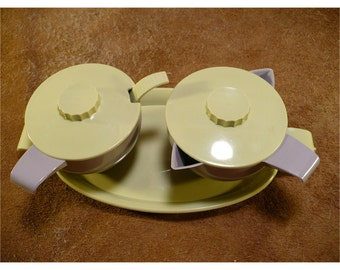 Apple Green and Gray Plastic Sugar and Creamer Set with Tray & Spoon by Federal Tool Corp - Retro Vintage Hostess Serving Set -