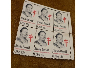 1980 Emily Bissell 15 cent Vintage US Postage Stamp - Block of 6