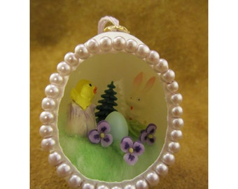 Bunny's Surprise Handmade Easter Diorama Egg Ornament