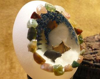 Winter Camping Handmade Diorama Egg  - Handmade Egg Art Decoration / Ornament - Miniature Camping Scene