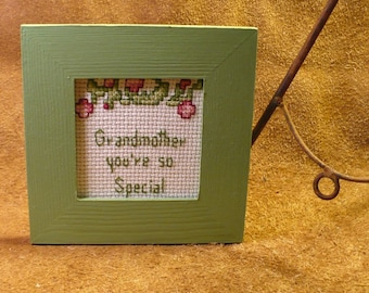 Stitched Grandma Sentiment - Grandmother You're So Special - Framed Hand-Stitched Counted Cross Stitch Saying