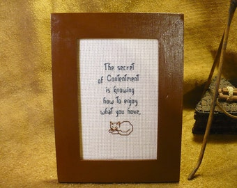 The Secret of Contentment Saying - Small Framed Hand Stitched Inspirational Reminder Quote