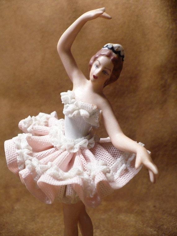 Vintage Dresden Ballerina Wearing A Dresden Lace Pink Tutu