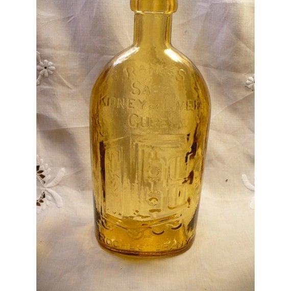 Franks Safe Kidney and Liver Cure Vintage Amber Wheaton Bottle