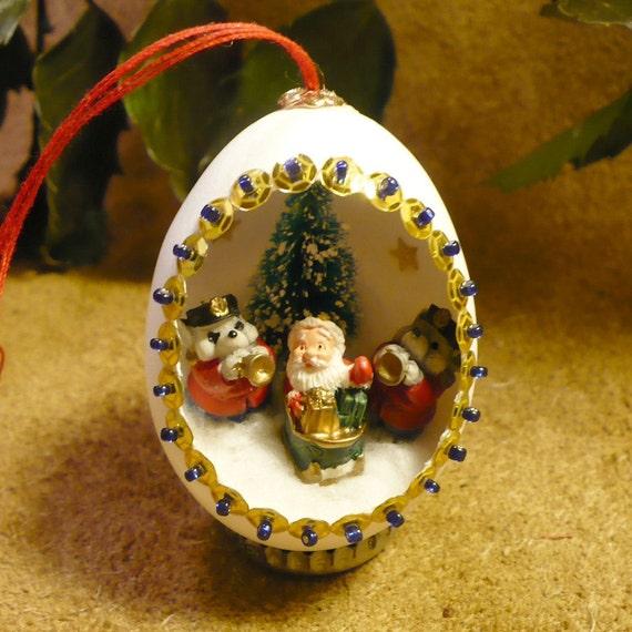 Santa Claus Egg Ornament - Santa's Big Send-Off - Handmade Diorama Egg Art Ornament Christmas Decoration
